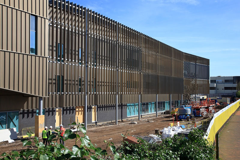 HS2 building, Birmingham - anodised fence panels by United Anodisers